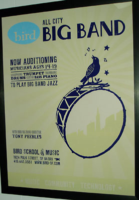 Bird Big Band poster - silkscreened