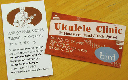 Ukulele clinic business cards