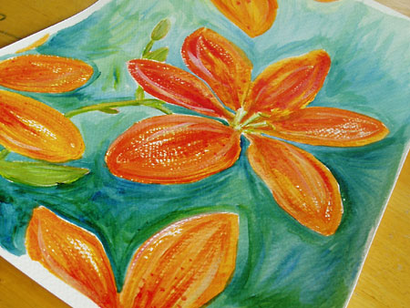 Leopard lilies original painting