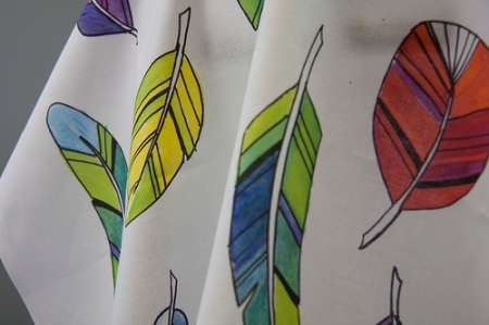 Spike's Feathers fabric by Jeni Paltiel, photo by Spoonflower