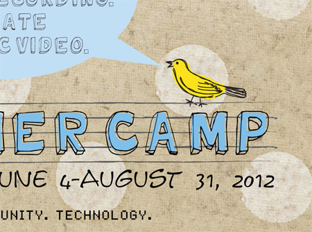 Detail of Bird School of Music summer camp postcard