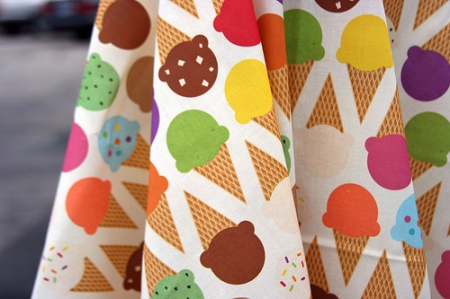 Ice Cream Dream fabric as photographed by Spoonflower.