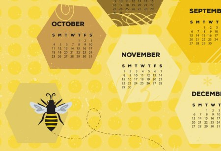 Detail of Bee Towel calendar by Jeni Paltiel/Lellobird
