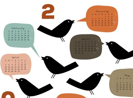Detail of Bird Talk calendar by Jeni Paltiel/Lellobird